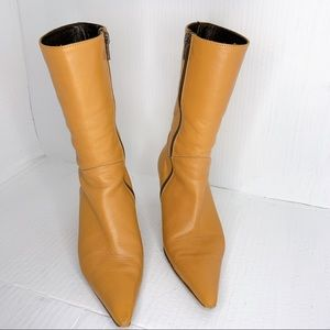 Tan Pointed Leather boots